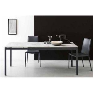 TABLE À MANGER SEULE Table extensible SNAP gris beton et piétement g...