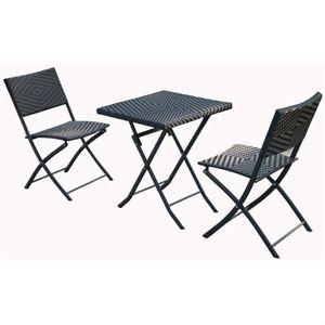 Ensemble pour balcon en resine tressee - Achat / Vente salon ...