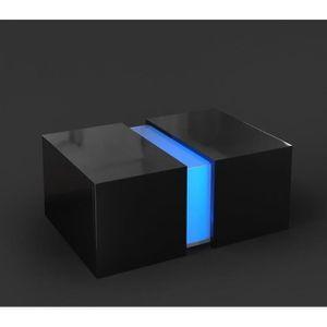 TABLE BASSE Table basse noir brillant avec led