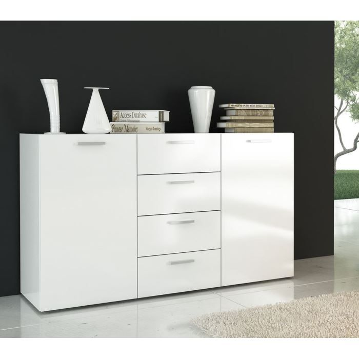 florida buffet blanc laqu 135 cm achat vente buffet. Black Bedroom Furniture Sets. Home Design Ideas