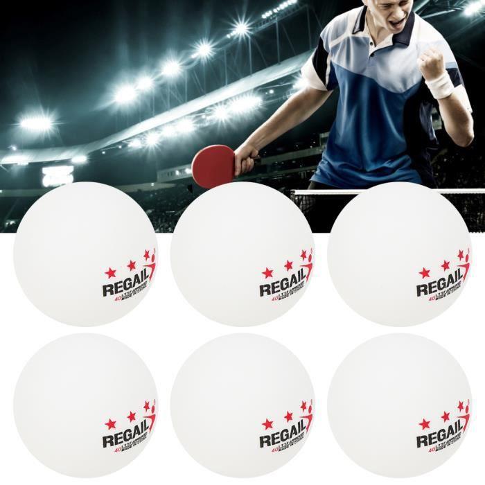 6Pcs-Jeu REGAIL Balles de Tennis de Table en Plastique ABS 3 Étoiles pour Sports Entraînement de Ping-Pong( blanc )-MAD