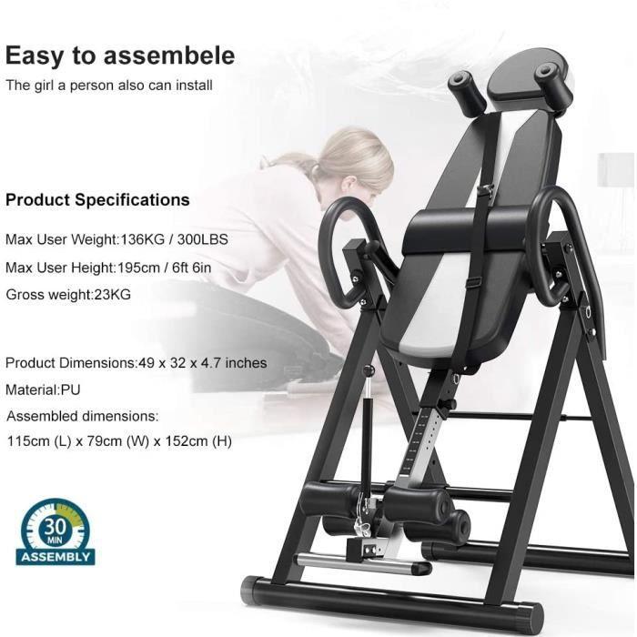 DOMICILE TABLE d'Inversion Exercice Réglable H185cm Pliable Musculation Appareil du Dos Bras NOIR&BLANC