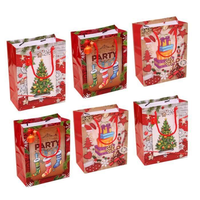 6 pièces sacs de cadeau de noël Portable imprimé papier biscuits au chocolat Goodies fourre-tout en pour boulangerie café SACOCHE