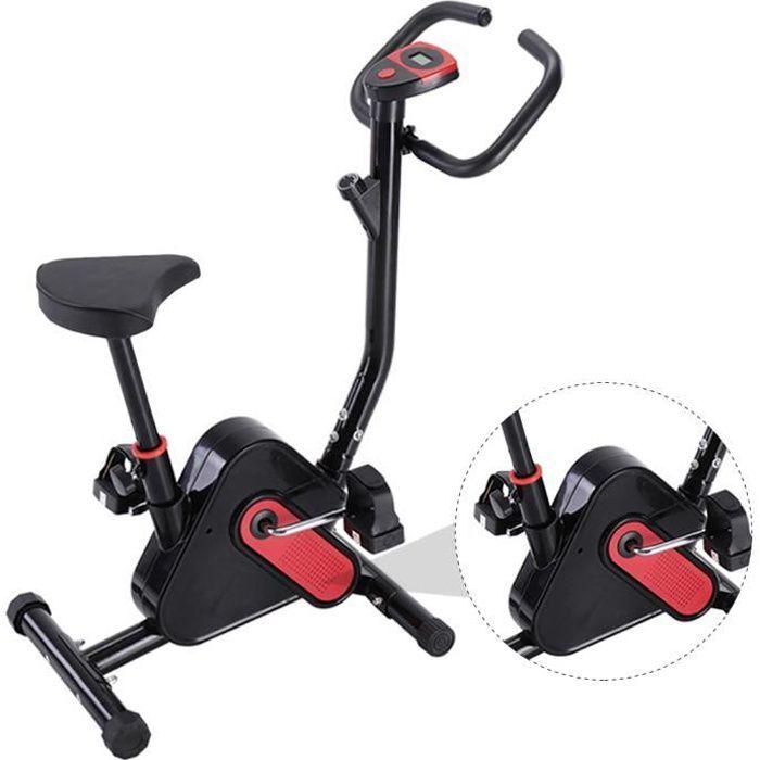 Vélo d'appartement pliable avec ordinateur LED pour fitness et cardio (Noir)
