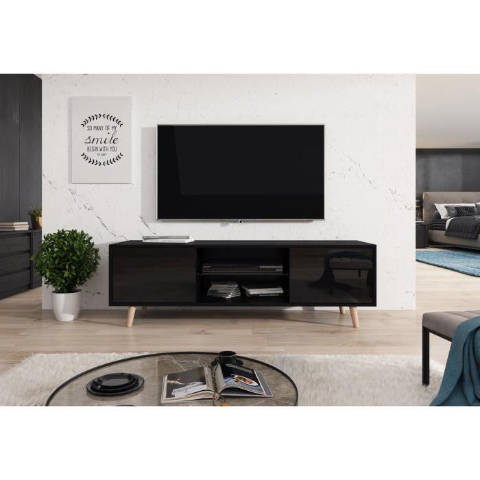 Décoro Meuble TV LASSE style scandinave décor noir et noir brillant.