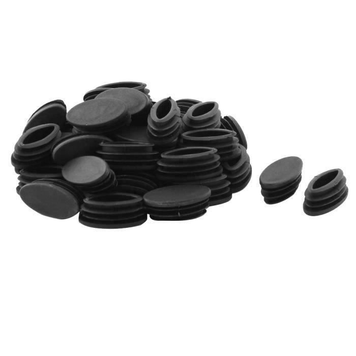 Sourcingmap Table Chaise pieds Tube ovale en plastique noir insert tuyau 20 x 40mm 40 pcs Bout0109-18D-39201