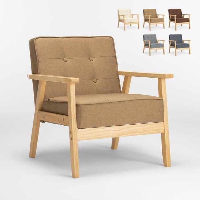 Fauteuil en bois au design scandinave vintage avec accoudoirs Hage, Couleur: Beige