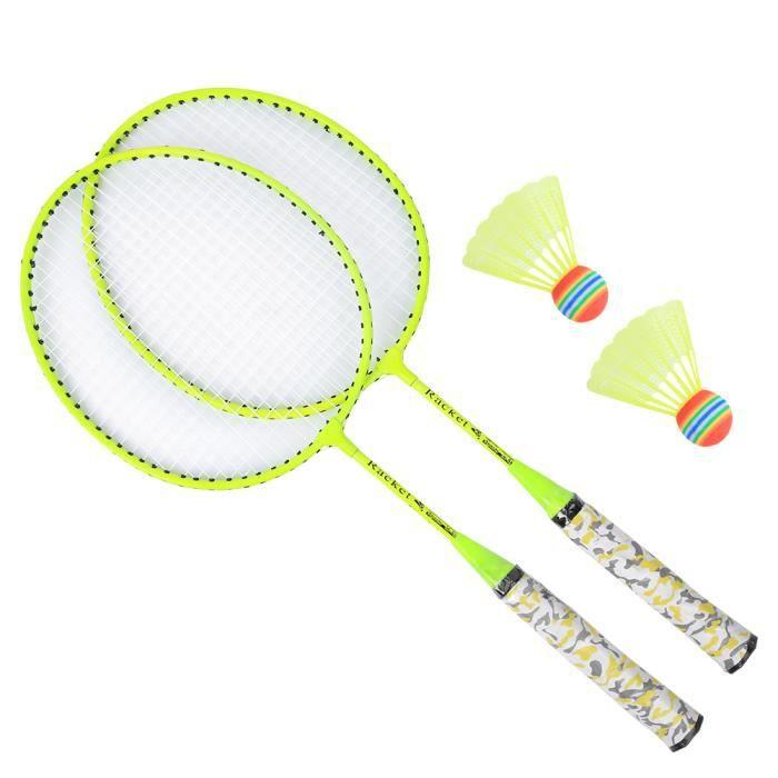 ZJCHAO Ensemble de raquette de badminton Kit de Raquette de Badminton avec 2 Balles Jeu de Sport Extérieur Jouet d'Enfant Garçons