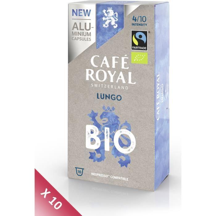 Lot de 10 CAFE ROYAL compatible Nespresso Alu Lungo BIO x10