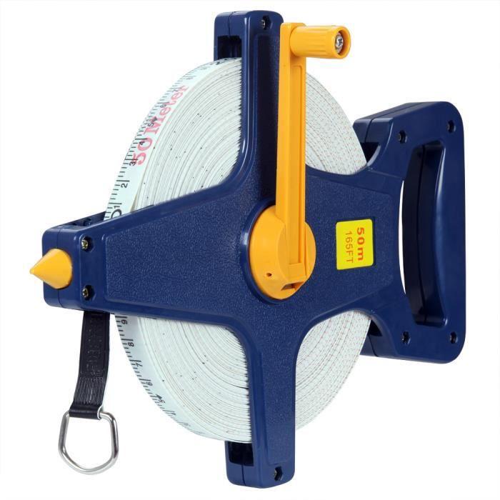 Mètre ruban de mesure 50m Tous travaux 21cm x 21cm x 4cm Bricolage mesure