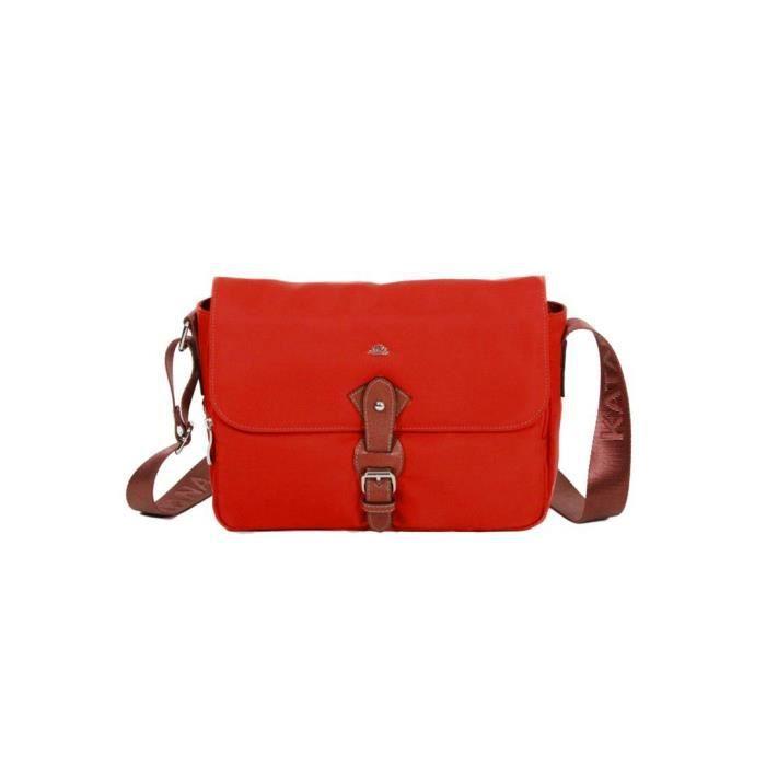 Besace Katana Nylon garni croûte de cuir de vachette K 29301 - Rouge - Cuir - Femme