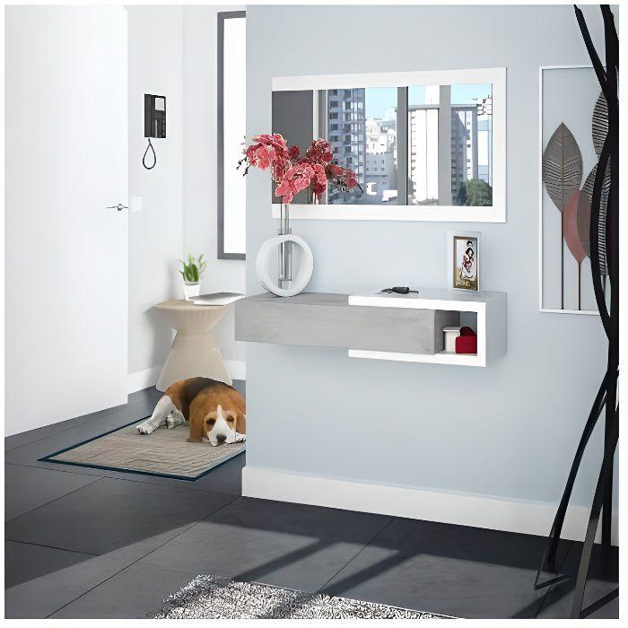 Habitdesign 0L6743A - Meuble d'entrée avec tiroir et miroir, mobilier d'entrée modèle midi, Blanc Artik et Gris Ciment, dimensions: