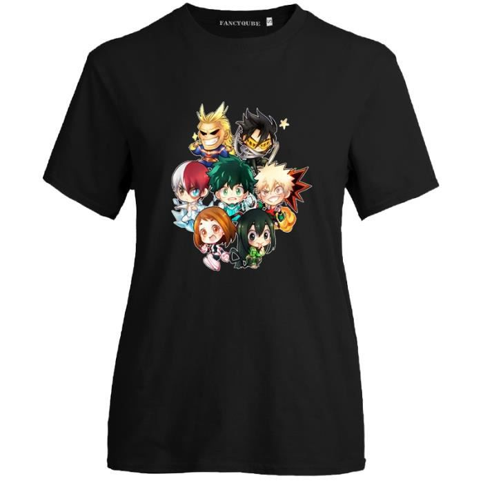 My Hero Academia T-Shirt My Hero Academy Cartoon Pattern Printed Funny Short Sleeve Graphic Tee-Noir