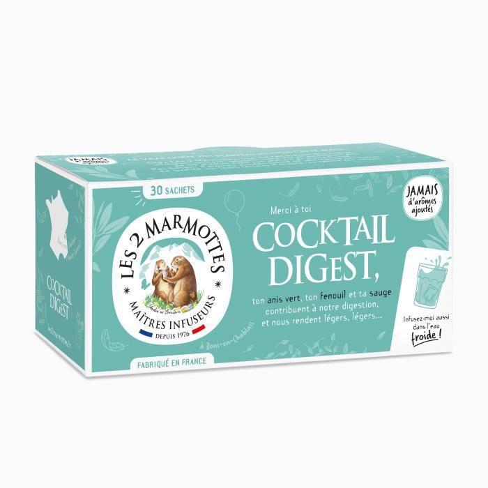 Les 2 Marmottes - Infusion Cocktail Digest 30 sachets - Anis vert, Fenouil et Sauge - Pour Digestion - Sans Arômes ajoutés