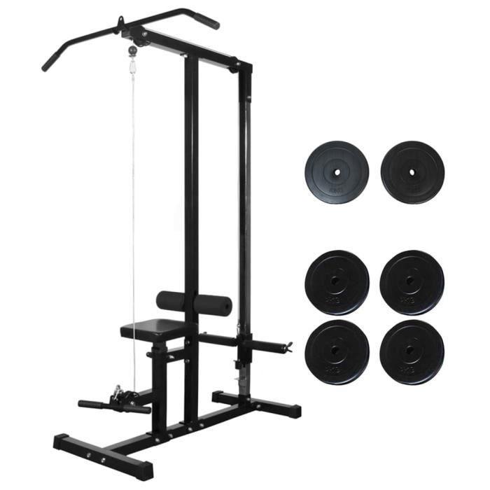 Tour de musculation-Appareil de musculation Station de Musculation Fitness Réglable avec plaques de poids 40 kg