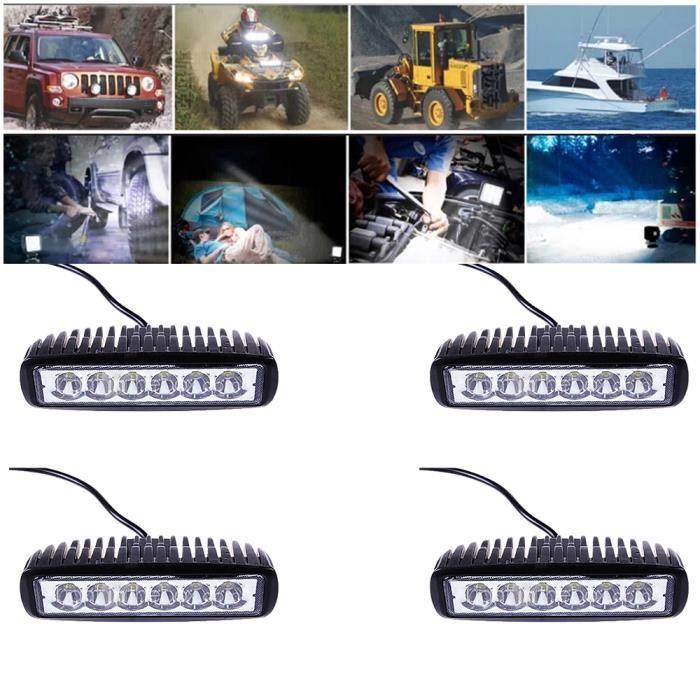 4X 18W Phares Longue Portee LED 10-30V 1150LM Feux Offroad Projecteur Spot de Travail Voiture Lumière Blanc 6000k Étanche IP67