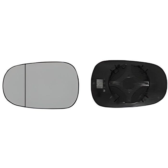 Miroir Glace rétroviseur gauche pour RENAULT CLIO II phase 2, 2001-2005, asphérique, à clipser.