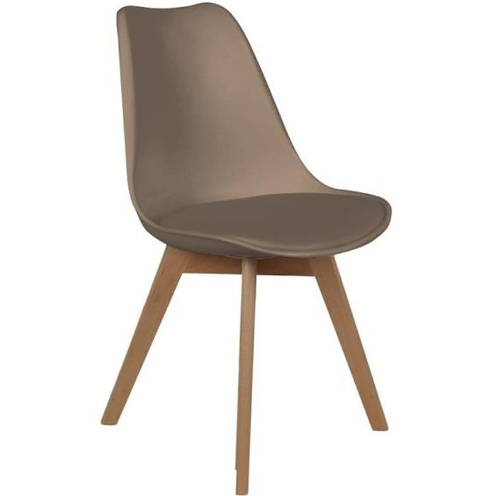 Chaise scandinave avec coussin - Taupe