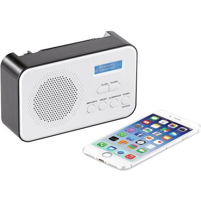 Radio mobile numérique DAB+ / FM 8 W avec fonctions bluetooth 5.0 et réveil DOR-215
