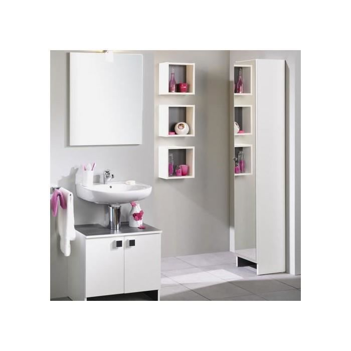 colonne salle de bain 1 porte miroir zenia blanc achat. Black Bedroom Furniture Sets. Home Design Ideas