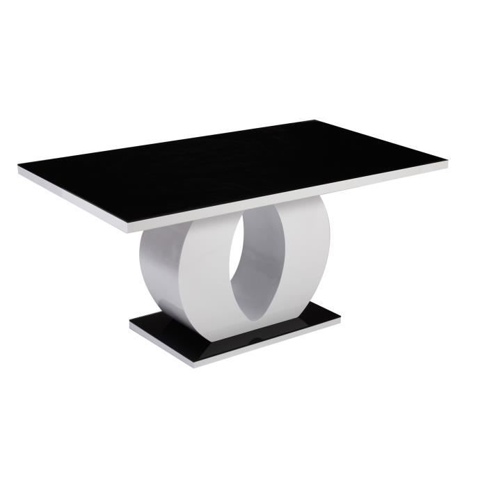 Table salle a manger laque blanc achat vente table for Table salle a manger noir et blanc