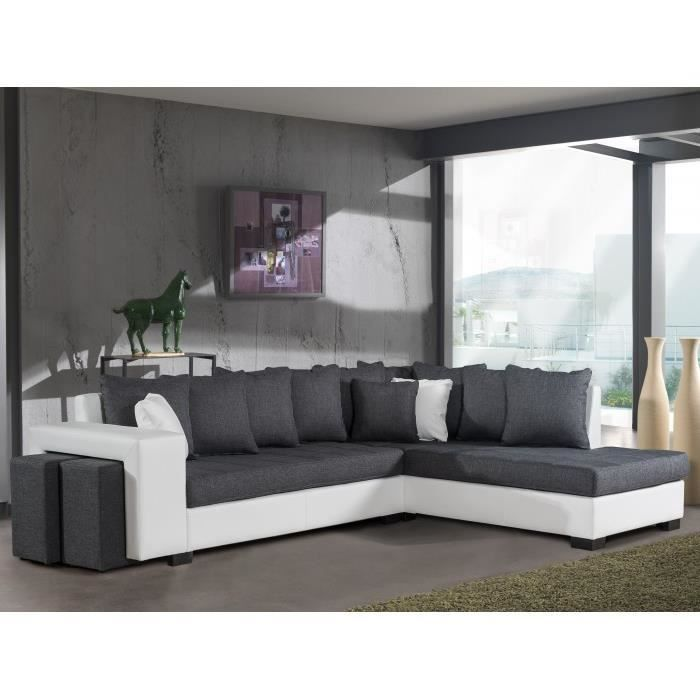 montreal anthracite blanc canap d 39 angle droit achat vente canap sofa divan cdiscount. Black Bedroom Furniture Sets. Home Design Ideas
