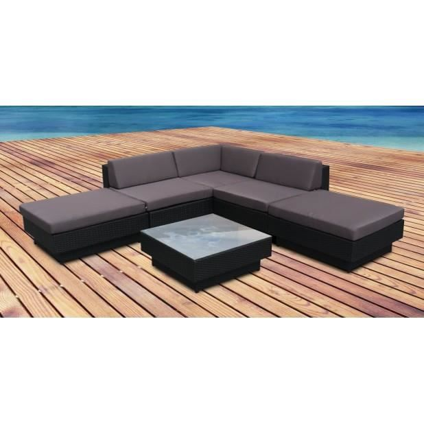 magnifique salon de jardin d 39 angle porto gris en resine tressee poly rotin achat vente salon. Black Bedroom Furniture Sets. Home Design Ideas
