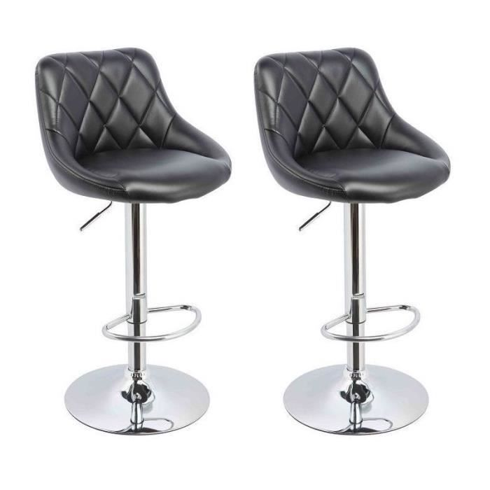 Lot de 2 tabourets de bar noir 1209044 achat vente tabouret de bar cuir - Tabouret de bar confortable ...