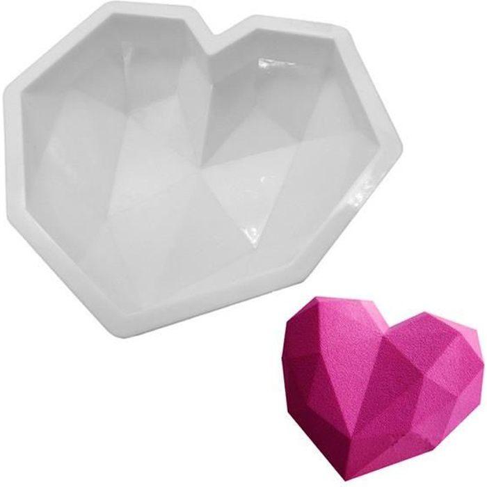 MOULE  Moule silicone gâteau forme coeur diamant facette