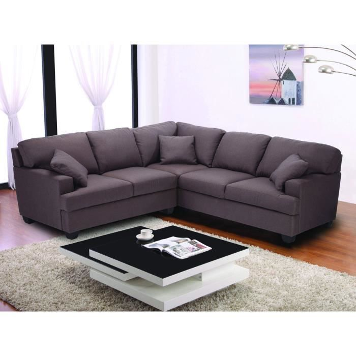 canap d 39 angle tissu 5 places alina marron achat vente canap sofa divan cdiscount. Black Bedroom Furniture Sets. Home Design Ideas