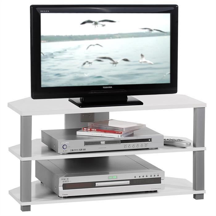 meuble tv blanc et gris achat vente meuble tv dimensions 75 x 40 x 39 c cdiscount. Black Bedroom Furniture Sets. Home Design Ideas