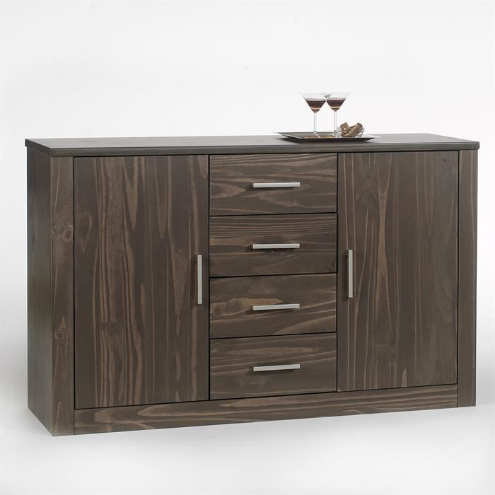 buffet en pin tenno 2 portes 4 tiroirs gris achat. Black Bedroom Furniture Sets. Home Design Ideas