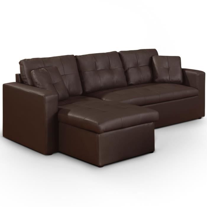 Canap d 39 angle convertible toledo marron achat vente canap sofa - Canape angle convertible marron ...