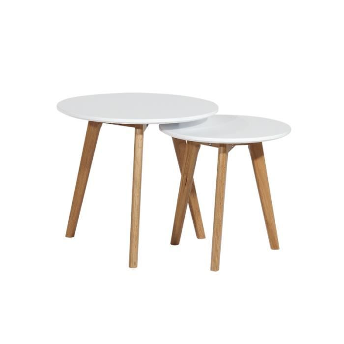 2 tables basses en bois gigognes rondes blanches norway achat vente table basse 2 tables. Black Bedroom Furniture Sets. Home Design Ideas