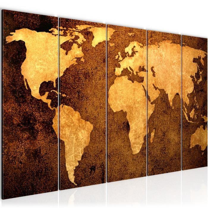 013355b XXL Impression sur Toile Salon Appartment 5 Parties pr/êt /à accrocher Tableau decoration murale Carte du monde 200 x 80 cm
