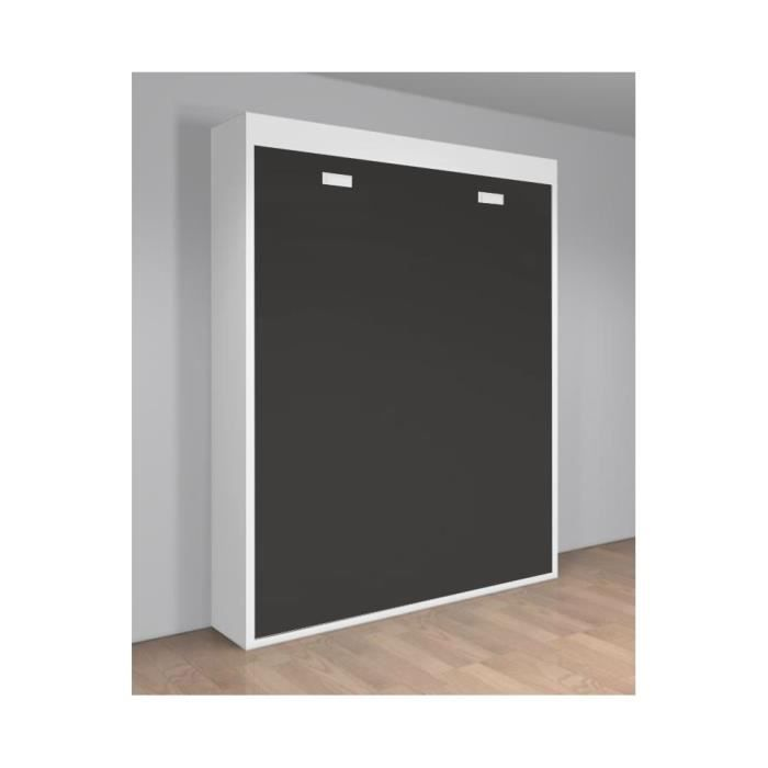 armoire lit escamotable verticale 2 places 140 x 190 teo. Black Bedroom Furniture Sets. Home Design Ideas