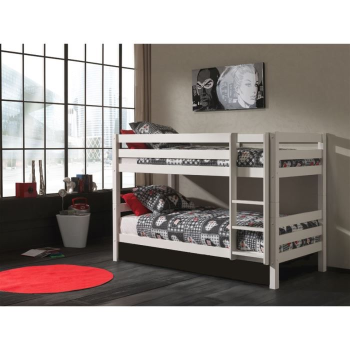lits superpos s swithome ruben h140cm 90x200 blanc achat. Black Bedroom Furniture Sets. Home Design Ideas