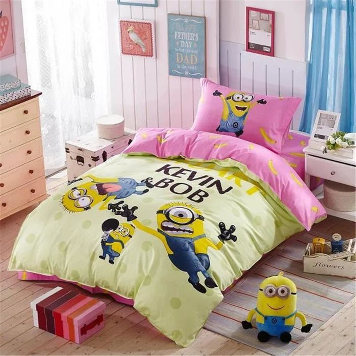 parure de lit parure de couette minions enfant 100 coton 1 housse de couette 140x200cm 1 taie. Black Bedroom Furniture Sets. Home Design Ideas