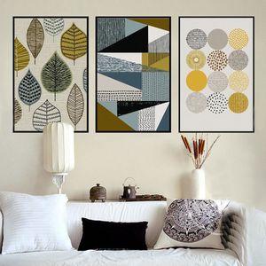 OBJET DÉCORATION MURALE Peintures abstraites de toile géométrique Affiches