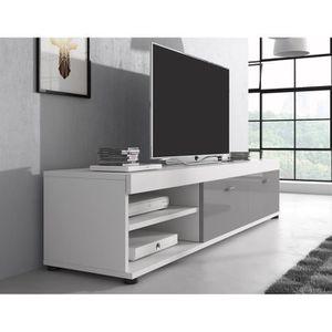 MEUBLE TV Meuble tv blanc mat et  gris  laqué 140 cm