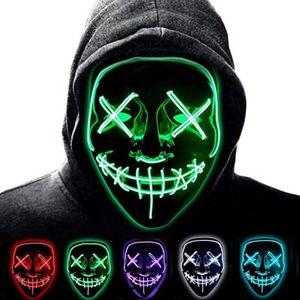 MASQUE - DÉCOR VISAGE LED Halloween Masques Allumer Masques Pour Noël Ha