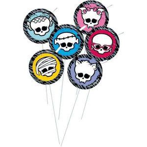 DÉCORATION PÂTISSERIE Paille décorée Monster High x 6