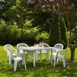 Salon de jardin: Table + 6 fauteuils en résine blanche