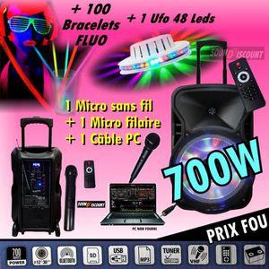 PACK SONO ENCEINTE SONO PORTABLE KARAOKÉ USB BLUETOOTH 700W