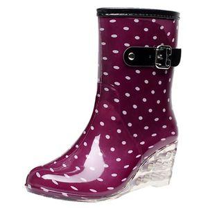 BOTTE Femmes mi-mollet Bottes de pluie Boucle à glissièr