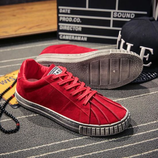 Sneakers Hommes Coquilles Chaussures Casual Chaussures De Toile Sneakers Rouge Rouge - Achat / Vente basket