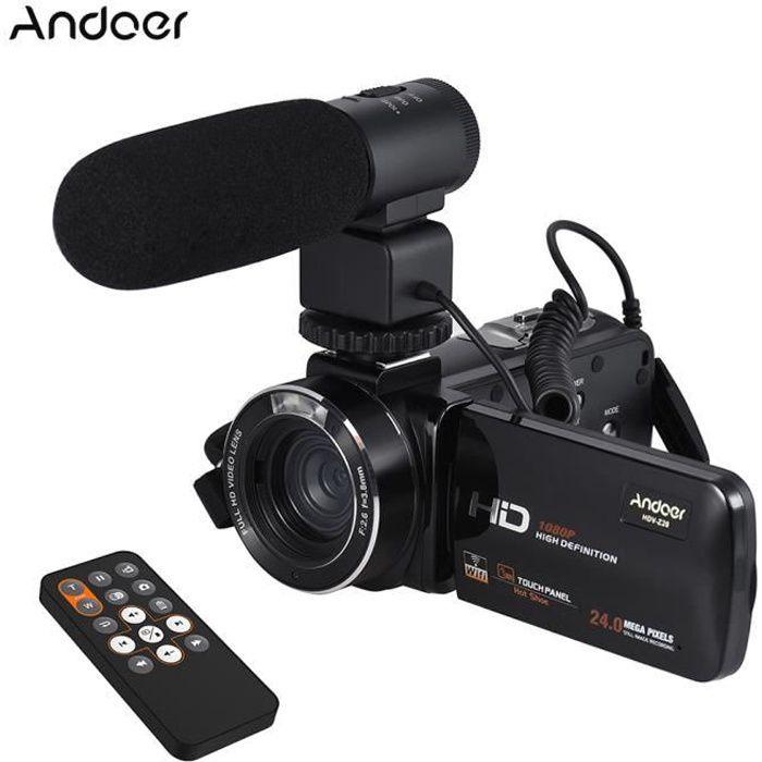 Andoer HDV-Z20 1080P Plein HD 24MP WiFi Caméra Vidéo Numérique+Microphone 3.0- Rotatif LCD Écran Tactile Télécommande 16X Zoom