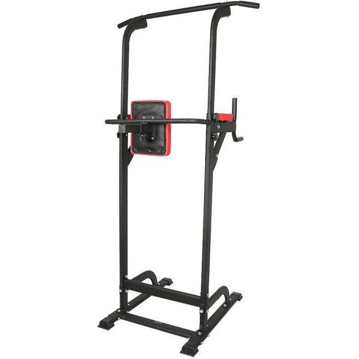 Power Tower Chaise Romaine Station de traction réglable pour exercices abdominaux à la maison bureau -Noir et Rouge