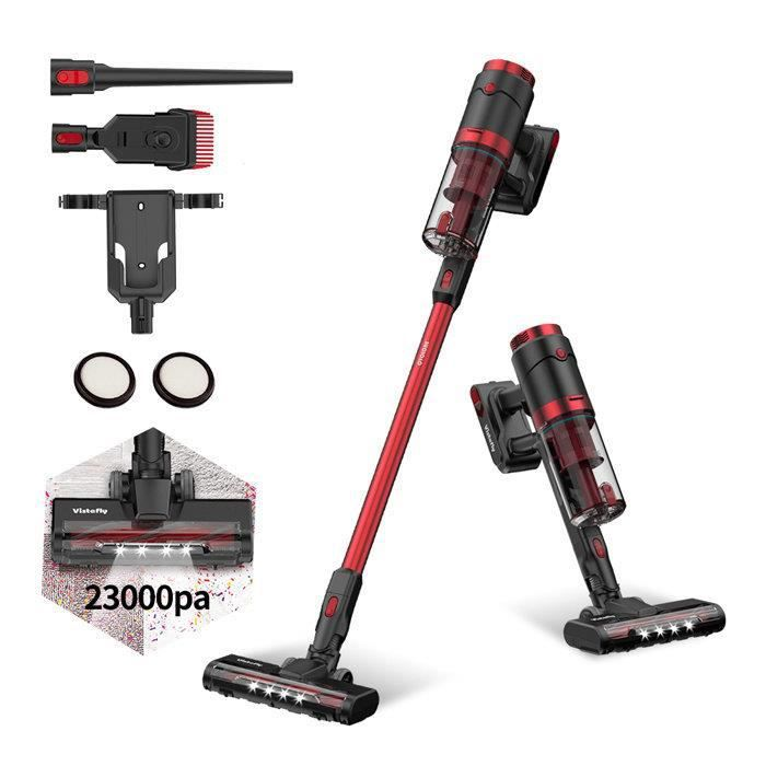 Vistefly VX Aspirateur Balai sans Fil sans Sac,Aspirateur Puissant 23000pa, 250W Rechargeable Batterie 50 mins, 3 Vitesses