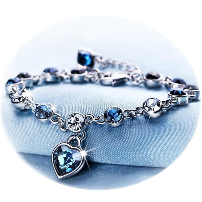 YOUFENG Jewellery Youfeng Bijoux Cœur Bleu Cristal Bracelets pour Femmes et Adolescents Saphir Pierre Porte-Bonheur Sparkling Bra